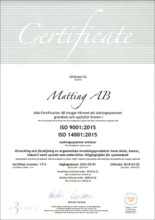 Matting AB Certificate ISO 14001 and  9001