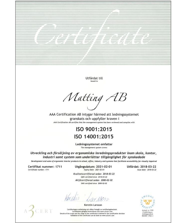 Matting AB ISO 14001 och 9001